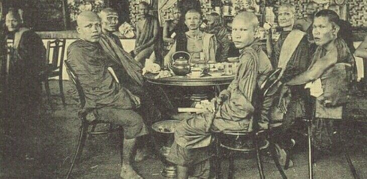 Th monks at tea